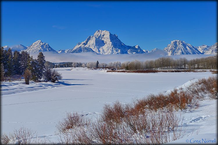 Oxbow Bend during winter in Grand Teton National Park